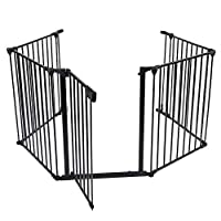 Baby Safety Gate Pet Door Fence,Metal Fire Fence Safety Gate Fireplace Stove Fence Protection Doors for Baby Toddlers Kids Pets Black