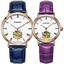 STARKING Couple Lover Men Women Rose Gold Fashion Skeleton Automatic Watches # AM0197RL71_AL0197RL01