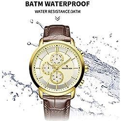 Liuxi Business Leather Quartz Watch pour Les Hommes, étanche 30M Chiffres Romains Business Casual Montre-Bracelet analogique de Mode