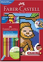 Idea Regalo - Faber-Castell 201571 pixel-it libro da colorare con 12 matita Grip colore