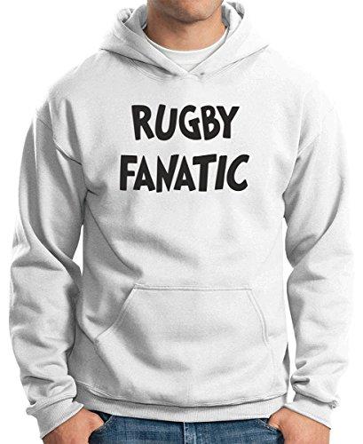 Cotton Island - Felpa Hoodie TRUG0046 rugby fanatic logo Bianco