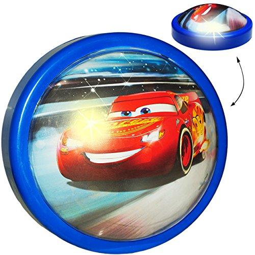 Unbekannt LED Nachtlicht -  Disney Cars / Lightning McQueen - Auto - blau  - Batterie betrieben - magisches Licht & Schlummerlicht - zum Drücken - Touch - Baby / Wand..