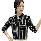 UFACE Damen Longsleeve Button Gestreiftes Shirt Top Langarm Button Arbeit Office Lady Bluse Shirt(Schwarz,EU/50CN/2XL)