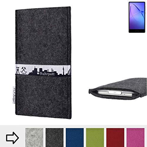 flat.design für Leagoo KIICA Mix Schutzhülle Handy Tasche Skyline mit Webband Ruhrpott - Maßanfertigung der Schutztasche Handy Hülle aus 100% Wollfilz (anthrazit) für Leagoo KIICA Mix