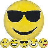Emoji Kissen 30 cm Emoticon Dekokissen Smiley mit verschiedenen Mustern zur Auswahl (Cool)