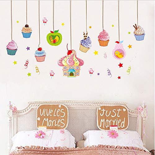 YLCKDYAT Cartoon Bunte Kuchen EIS Wandaufkleber Für Kinderzimmer Schlafzimmer Kühlschrank Fenster Sofa Hintergrund Decals Art Murals