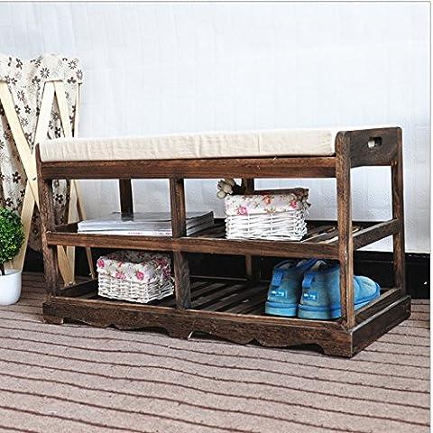 SU@DA Banco de banco/banco/cama/Banco/almacenaje del zapato de americano rural antigua aire/sólido madera muebles doble almacenamiento Banco/zapato , d36-d260 roast