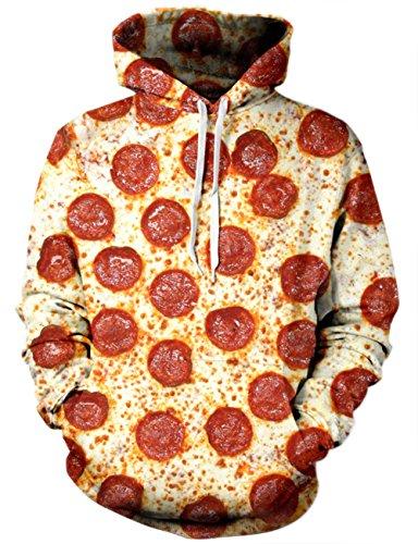 chicolife Unisex 3D Pizza Gestaltet Druck Hip Hop Aktiv Sport - Gymnastik - Pullover Hoodie für Teen Jungen Mädchen