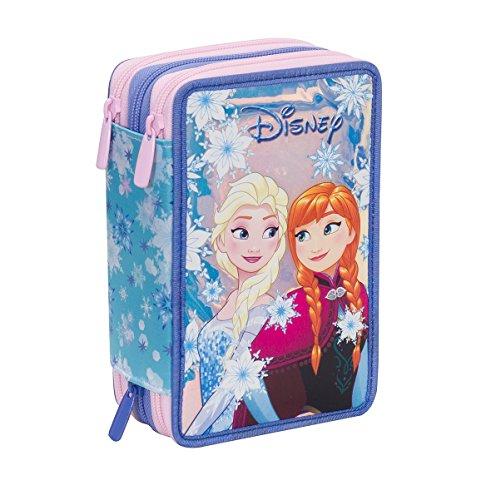 Astuccio scuola disney - frozen magic star - 3 scomparti - pennarelli matite gomma ecc. 3 zip - novità seven