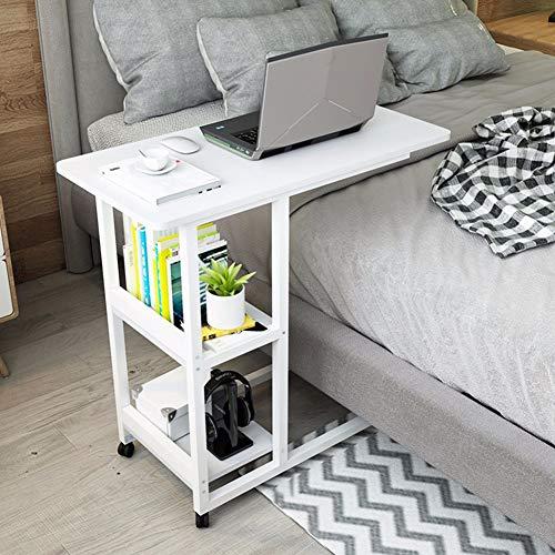 Laptopständer, Computertisch, Tragbarer Tisch, Am Bett, Sofa-Beistelltisch, 4 Räder, Frühstückstisch for Home Office, Mit 2 Schichten (Color : D)