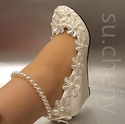 JINGXINSTORE Cuneo bianco perle Anklet Pizzo scarpe matrimonio sposa White