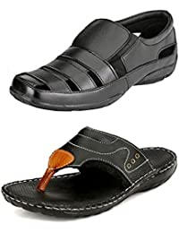 Leather Zone Men's Pure Leather Sandals (Combo of 2)