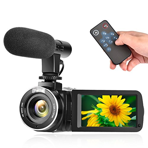 Videokamera Camcorder Full HD 1080P 30FPS Digitale Kamera Pause Funktion Vlogging Kamera mit externem Mikrofon und Fernbedienung