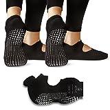 LA Active Calcetines Antideslizantes - Para Yoga Pilates Ballet Barre Mujer Hombre - Ballet (2x Negro)