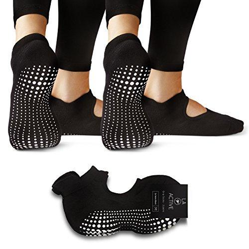 LA Active Grip Socken - Yoga Pilates Balletstange Ballet Rutschfest (Schwarz und Schwarz)