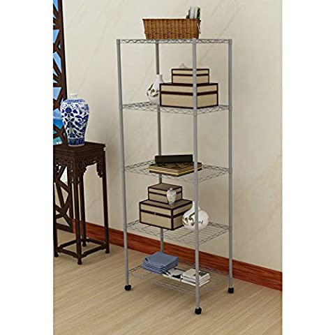 EBS Wire Steel Metal Shelving Unit Storage Rack Shelf for Home Kitchen Garage Workplace - 5 Tier Grey with Wheels