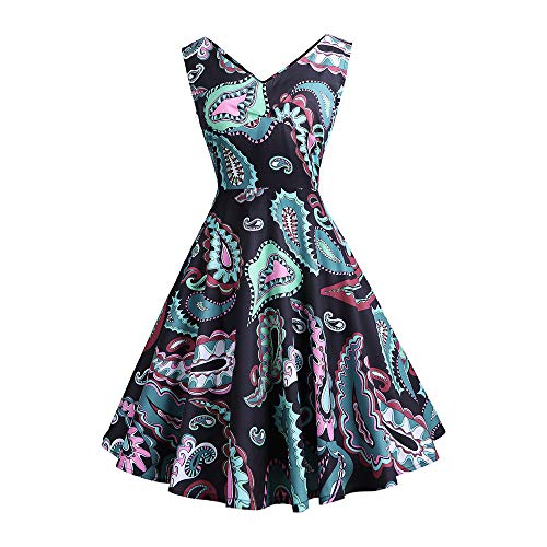 ZHJA European and American Women 'S Double V-Neck Print Kleid Kleines Kleid Tutu - Schlitz Vorne-baumwolle Top