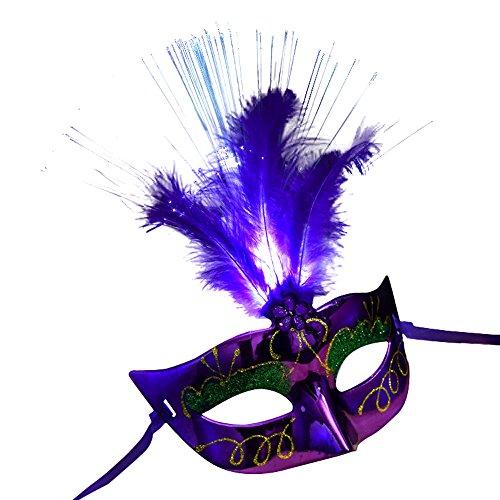 Wokee LED Laser Cut Metall venezianischen Frauen-Maske,Maskerade Kostüm Party Prinzessin Federmasken (Lila)