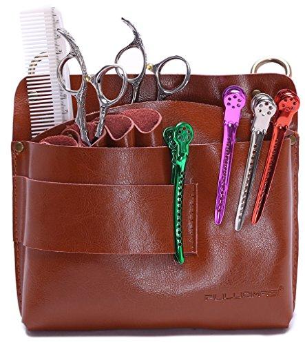 Grande pochette à ciseaux pour coiffeur avec ceinture, Sac à outils pour salon de coiffure, Cuir véritable - Marron.