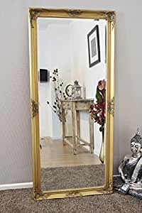 Extra Large Gold Decorative Antique Full Length Wall Mirror 5Ft6x2Ft6,163cmx76cm