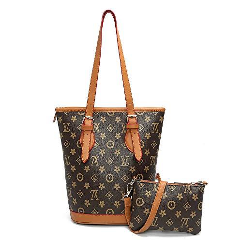 Ldyia Tasche Women Print Bag Damen 2 Stück alte Blumentasche drucken große Kapazität Mutter Tot Bucket Bag, Khaki -