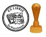 EX LIBRIS EXLIBRIS Stempel « EULE mit BUCH » Durchmesser ca. Ø 40 mm - mit persönlichem Wunschnamen und Motiv