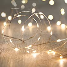 Battery Operated Fairy Lights with 20 Micro Warm White LEDs on Silver Wire by Lights4fun