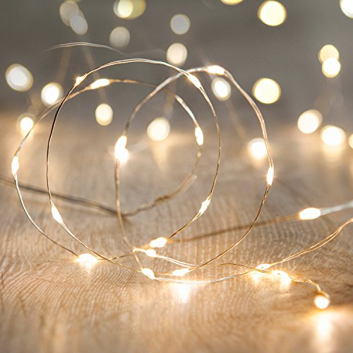 Lights4fun 20er LED Draht Micro Lichterkette perlweiß Batteriebetrieb -