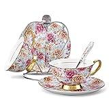 Panbado Kaffee Set aus Premium Bone China Porzellan, mit Kaffeetassen, Untertassen, Löffel und Metall Ständer
