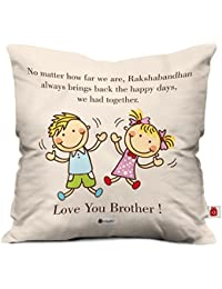 "Indigifts Far But Always Close Quote Printed Cushion Cover 12""X12"" With Filler, Crystal Rakhi, Roli, Chawal, Greeting Card For Men/Boys"
