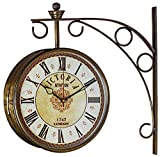 #10: Swagger 8 inches brass finish double sided victorian station clock / vintage wall clock / antique clock