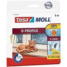 Tesa 05393-00100-00 - Burlete de caucho perfil D, 6 m x 9 mm, color blanco