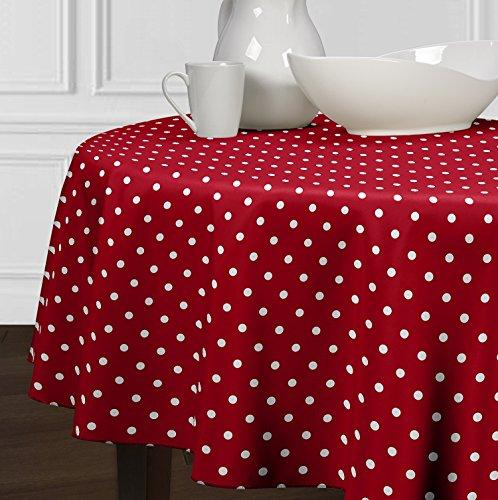 Ein luxehome Rot und weiß Modernes Polka Dot Tischdecken Esszimmer Küche Rund 182,9cm (Dot Polka Rot Tischdecke)