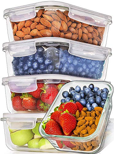 DUCATI 5 Piece Glass Food Storage Containers with Lids + Microwave Covers, BPA-Free & FDA Approved, 100% Leak-proof and Airtight,Oven/Dishwasher/Microwave/Freezer Safe , 590 ml Each bowl for 2 to 3 people serving size only.