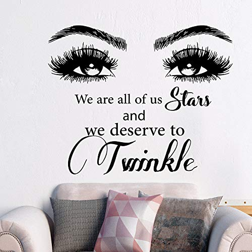 Beauty Quote Wall Decal Eyes Wir sind alle von uns Stars und verdienen es Vinyl Art Mural Sticker Wimpern Augenbrauen schwarz 70x57 cm zu funkeln