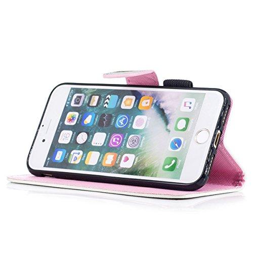 "MOONCASE iPhone 8/iPhone 7 Coque, [Colorful Pattern] Wristbands avec Support Protection Étuis Case Card Holder Flip Cuir Housse pour iPhone 8/iPhone 7 4.7"" Cat Pineapple"