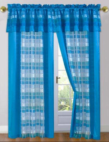 Dainty Home Times Square Window Panel mit Volant befestigt, 84Zoll blau -