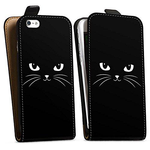 Apple iPhone X Silikon Hülle Case Schutzhülle Black Cat Katze Kater Downflip Tasche schwarz