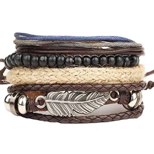 ICHQ Armband, Mode Herren Leder Armbänder Mehrfache Kombinationen Armreifen Schmuck Armband Men's Geschenk Zubehör Leather Bracelet (A)