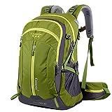 Trekkingrucksack mit 40L Wanderrucksack Fassungsvermögen aus strapazierfähigem Nylon mit Regenschutzhülle. Großer Rucksack, perfekt zum Wandern, Bergsteigen, Reisen und für Sport und Camping. (40L 01 Grün, 40L)