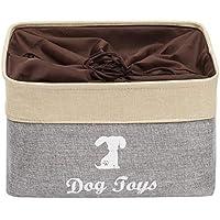 Brabtod - Cesta de almacenamiento para perros con asas y cierre de cordón, ideal para organizar juguetes para mascotas, mantas, correas, toallas, abrigos, pañales.