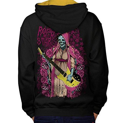 Rock Star Zombie Musik Gebeine Schlagen Men M Kontrast Kapuzenpullover Zurück | Wellcoda (Rock Star Zombie)