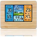 Station météo sans Fil Station météo numérique avec Station météo Thermomètre avec Alarme et humidité Baromètre Alarme Horloge météo à Phase Lunaire avec capteur extérieur (A)