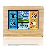 Station météo sans Fil Station météo numérique avec Station météo Thermomètre avec Alarme et humidité Baromètre Alarme Horloge météo à Phase Lunaire avec capteur extérieur