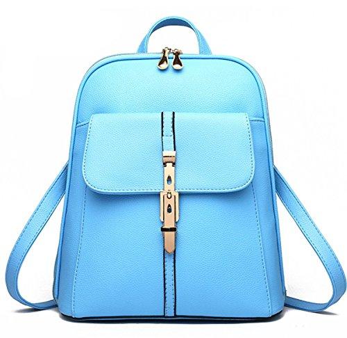 YOGLY Damen Rucksack Umhängetasche Schulrucksäcke PU Reise Daypacks Tasche Schulranzen Blau B