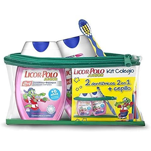 Licor del Polo Dentífricos 2en1 Junior Fresa, Cepillo y Neceser de Regalo - 1 pack