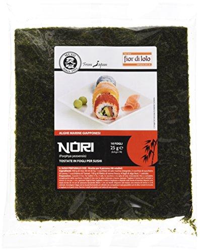Fior di Loto Alghe Nori in Fogli per Sushi - Confezione da 10 x 2.5 gr