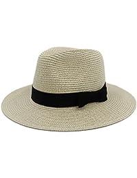 XZP Mujeres clásicas de los Hombres del Sombrero del Sol de la Paja de Toquilla del Verano para la señora Elegante Sombrero Ancho de Panamá…