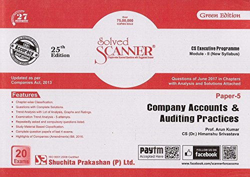 Shuchita Prakashan's Solved Scanner for CS Executive Module-2 Paper-5 : Company Accounts & Auditing Practices for Dec. 2017 Exam (New Syllabus)