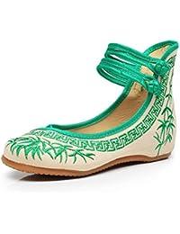 Zapatos de Mujer de Bordado de bambú Zapatos Planos Chinos Zapatos de Suela Suave Mary Janes